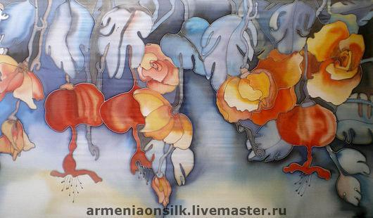 """Шарфы и шарфики ручной работы. Ярмарка Мастеров - ручная работа. Купить Шарф """"Зимние Цветы"""". Handmade. Шарф, синий, красный"""