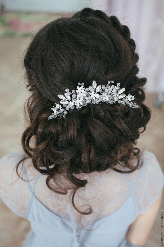 Свадебные украшения ручной работы. Ярмарка Мастеров - ручная работа. Купить Гребень свадебный со стразами Украшение свадебное для прически невесты. Handmade.