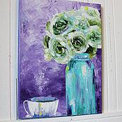 Картины и панно ручной работы. Ярмарка Мастеров - ручная работа Картина маслом Чайные розы. Handmade.