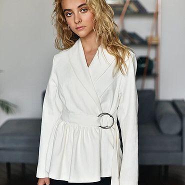 Одежда ручной работы. Ярмарка Мастеров - ручная работа Жакет белого цвета на завязках. Handmade.