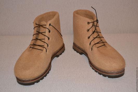 """Обувь ручной работы. Ярмарка Мастеров - ручная работа. Купить Ботинки валяные мужские""""Карамель"""". Handmade. Бежевый, ботинки мужские"""