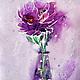 картина акварель, акварель цветы,акварельная живопись