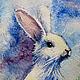 Картина - Печать на холсте - белый Рождественский Заяц - акварель. Автор Соболева Карина