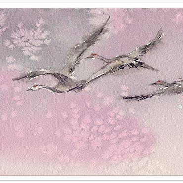 """Картины и панно ручной работы. Ярмарка Мастеров - ручная работа """"Пора!"""" картина акварелью (птицы, розовый, сиреневый). Handmade."""