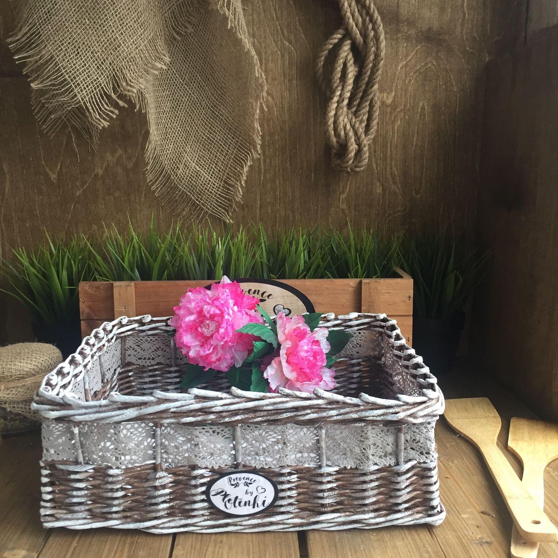 Интерьерная плетёная корзинка для хранения, Корзины, Москва,  Фото №1