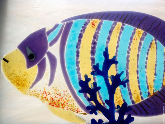 Элементы интерьера ручной работы. Ярмарка Мастеров - ручная работа. Купить Рыбы красного моря, фьюзинг. Handmade. Подарок дайверу