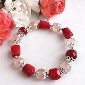 Украшения handmade. Livemaster - original item Bracelet of natural coral, rose quartz and mother of pearl. Handmade.