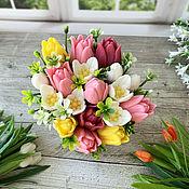 Косметика ручной работы handmade. Livemaster - original item Soap bouquet in a glass Tulips and snowdrops. Handmade.