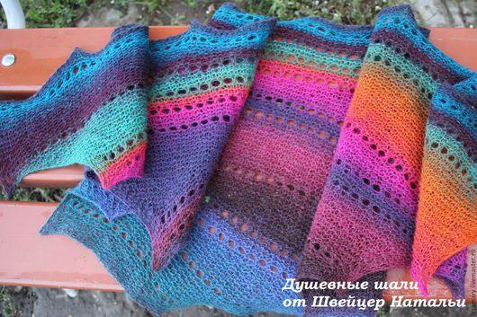 Шали, палантины ручной работы. Ярмарка Мастеров - ручная работа. Купить Необычная разноцветная теплая мини-шаль бактус шейный платок Багамы. Handmade.