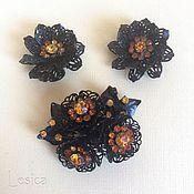Винтаж handmade. Livemaster - original item Set brooch and Coro clip-on earrings openwork USA 40th... Handmade.