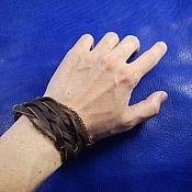 Украшения handmade. Livemaster - original item A leather bracelet winding Netting and chain. Handmade.