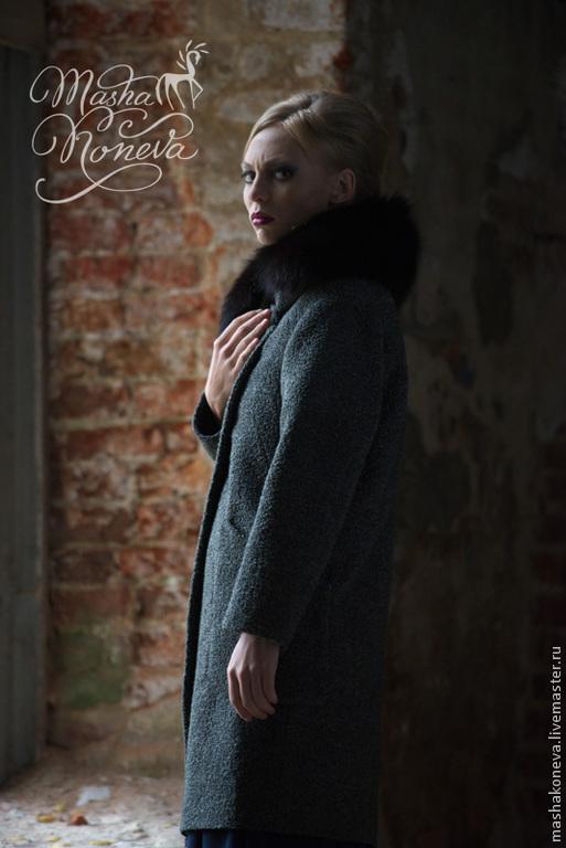 Верхняя одежда ручной работы. Ярмарка Мастеров - ручная работа. Купить Теплое пальто из буклированной шерсти. Handmade. Темно-серый