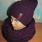 Аксессуары handmade. Livemaster - original item Kit Black hat, Snood and mittens. Handmade.