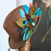 Украшения handmade. Livemaster - original item Barrette brooch is made of feathers of a rooster, peacock, pheasant and marabou.. Handmade.