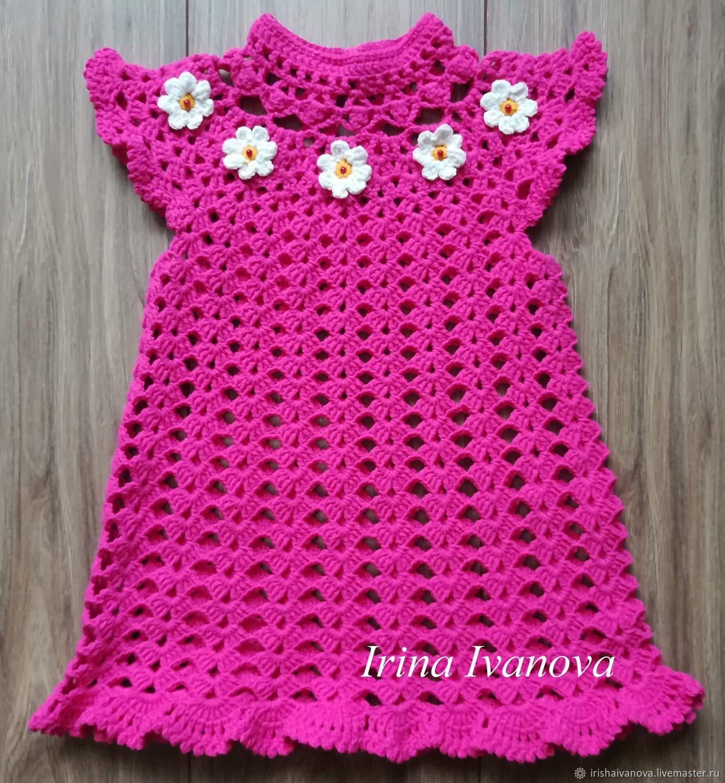 Комплект: Вязаное летнее платье и шапочка для девочки 1 год крючком