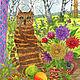 Животные ручной работы. Кошка у окна осенью. Большая картина акварелью для интерьера. Добрые акварели (yovin). Ярмарка Мастеров. Георгины