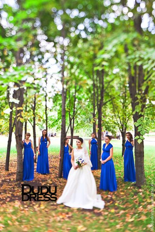 Платья ручной работы. Ярмарка Мастеров - ручная работа. Купить Платья-трансформеры для подружек невесты синий электрик. Handmade. Синий
