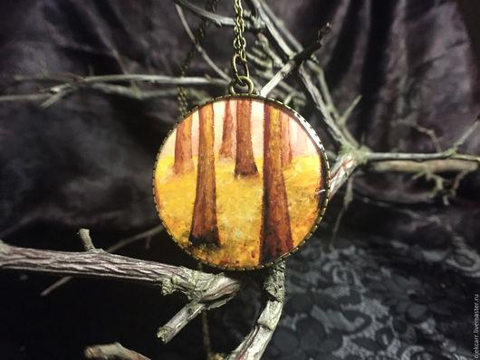 """Кулоны, подвески ручной работы. Ярмарка Мастеров - ручная работа. Купить Кулон """"Солнечный лес"""". Handmade. Желтый, кулон на цепочке"""