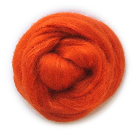 Валяние ручной работы. Ярмарка Мастеров - ручная работа. Купить Смесь Шерсть 70% + Шелк Малбери 30% - Оранжевый. Handmade.