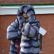 Одежда handmade. Livemaster - original item Fur coat black brown (silver) foxes.Cross. Hooded.. Handmade.
