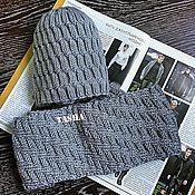 Аксессуары ручной работы. Ярмарка Мастеров - ручная работа Комплект мужской шапка и шарф. Handmade.
