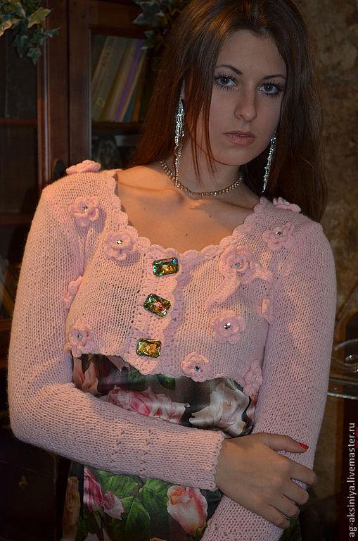 Болеро, шраг ручной работы. Ярмарка Мастеров - ручная работа. Купить Болеро Цветы садовника. Handmade. Кремовый, розовый