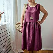 Одежда ручной работы. Ярмарка Мастеров - ручная работа Бордовое льняное платье. Handmade.