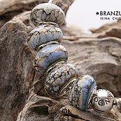 Материалы для творчества handmade. Livemaster - original item Shades blue - set 5 lampwork Branzuletka beads - charms bracelet. Handmade.
