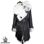 Дубленка женская из овчины Тиградо, черная дубленка с белым мехом