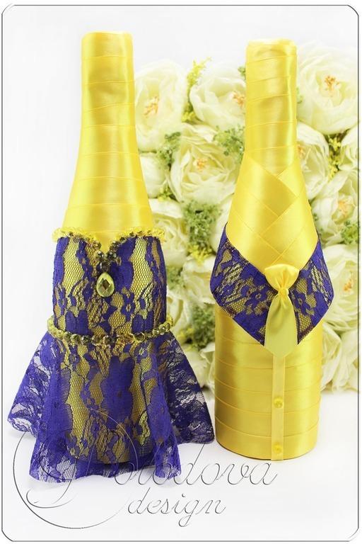 Свадебные бутылки Свадебные чехлы на бутылки,украшения на свадебные бутылки, свадебные бутылки,свадебные аксессуары ручной работы.