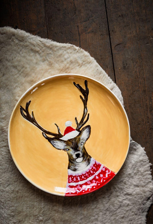 Блюдо Рождественский олень керамика, Тарелки, Киров,  Фото №1
