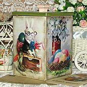 """Для дома и интерьера ручной работы. Ярмарка Мастеров - ручная работа короб для сладостей """"Пасхальный кролик"""". Handmade."""