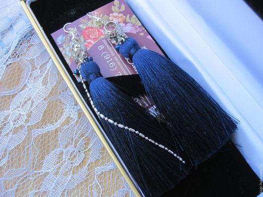 Серьги ручной работы. Ярмарка Мастеров - ручная работа. Купить Серьги Темная ночь с шелковой кисточкой. Handmade. Тёмно-синий