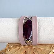 Украшения handmade. Livemaster - original item Bracelet with large stone leather women`s Lavender purple. Handmade.