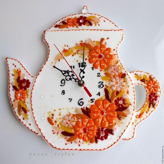 Часы для дома ручной работы. Ярмарка Мастеров - ручная работа. Купить часы из стекла, фьюзинг   Нежное время. Handmade. часы