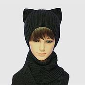 Аксессуары handmade. Livemaster - original item kit: Hat with ears Cat knitted Scarf rescence. Handmade.
