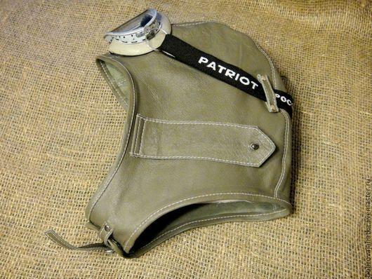Шапки ручной работы. Ярмарка Мастеров - ручная работа. Купить Кожаный шлем без подкладки Серый летный шлем очки авиатора Стимпанк. Handmade.