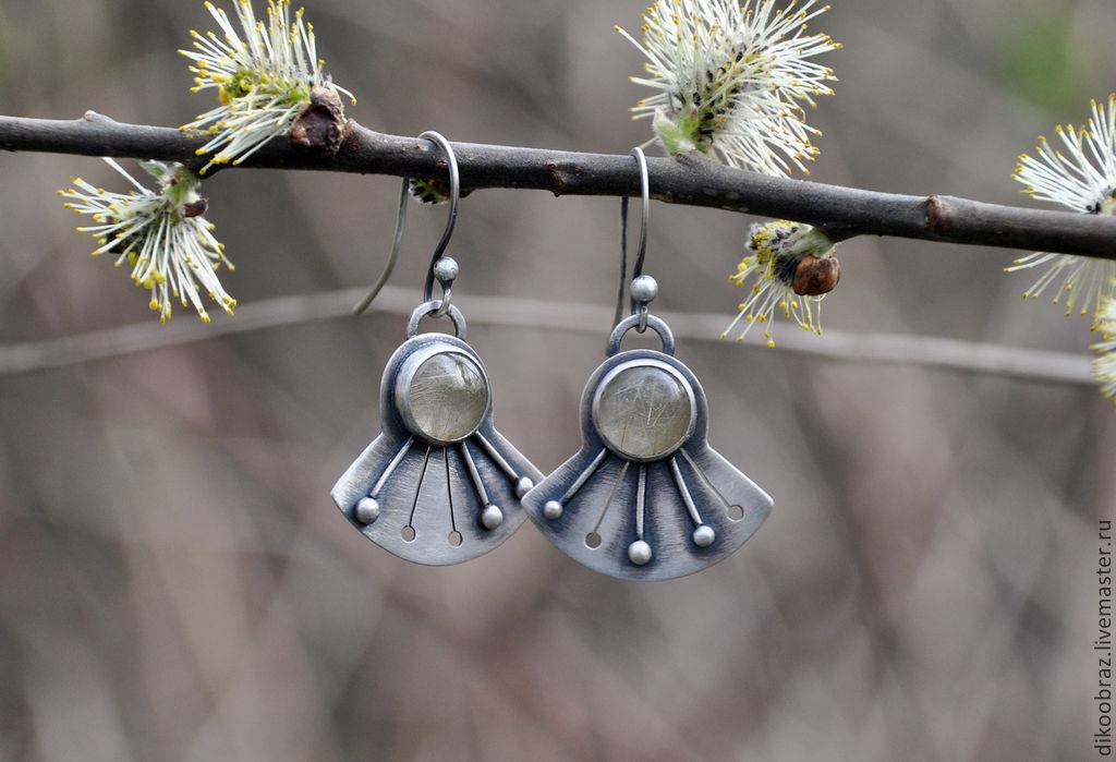 Dandelion earrings (925 silver, rutile quartz), Earrings, Moscow,  Фото №1