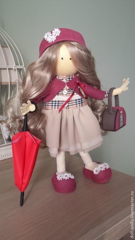 Коллекционные куклы ручной работы. Ярмарка Мастеров - ручная работа. Купить Прогулка по Пикадилли. Handmade. Бордовый, барберри, декоративные элементы