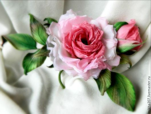 """Цветы ручной работы. Ярмарка Мастеров - ручная работа. Купить Шелковая роза """"Нежные мечты"""". Handmade. Бледно-розовый"""