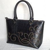 Классическая сумка ручной работы. Ярмарка Мастеров - ручная работа Красивая большая сумка с ручной вышивкой натуральной кожи. Handmade.
