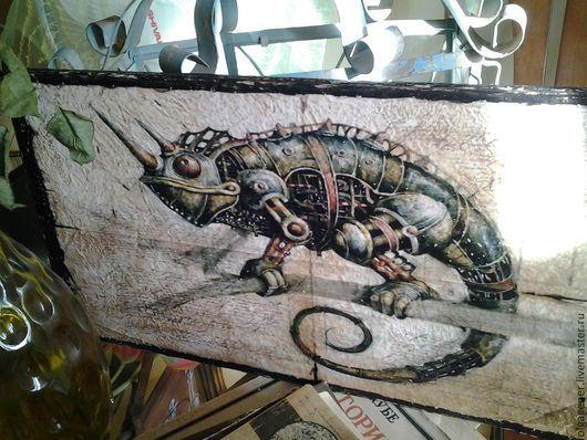 Животные ручной работы. Ярмарка Мастеров - ручная работа. Купить Панно деревянное 60х30 СТИМПАНК_Хамелеон W0070. Handmade. Разноцветный