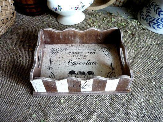 Кухня ручной работы. Ярмарка Мастеров - ручная работа. Купить Сухарница, мини поднос ,,Зефир в шоколаде,,. Handmade. Комбинированный, чаепитие