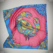 """Аксессуары ручной работы. Ярмарка Мастеров - ручная работа Шелковый платок """"Рак-знак зодиака"""" батик. Handmade."""