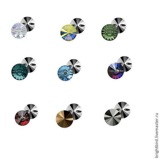 Для украшений ручной работы. Ярмарка Мастеров - ручная работа. Купить 9 цветов! 4 размера! Пришивные риволи высокие стразы Сваровски 3015. Handmade.