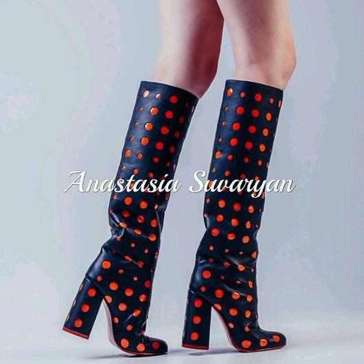 Обувь ручной работы. Ярмарка Мастеров - ручная работа. Купить Сапоги женские ''Горох'' авторская работа. Handmade. Комбинированный, сапоги