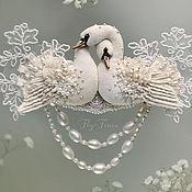 """Свадебный салон ручной работы. Ярмарка Мастеров - ручная работа """"Жемчужные Лебеди"""" - украшение-трансформер. Handmade."""