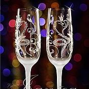 """Свадебный салон ручной работы. Ярмарка Мастеров - ручная работа Свадебные бокалы """"Serpente"""". Handmade."""