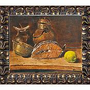 Картины и панно ручной работы. Ярмарка Мастеров - ручная работа Натюрморт с рыбой и лимоном. Handmade.