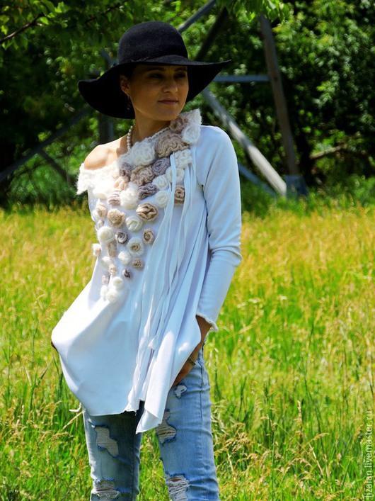 Блузки ручной работы. Ярмарка Мастеров - ручная работа. Купить Блузка свободного кроя декорированная розами (№98). Handmade.